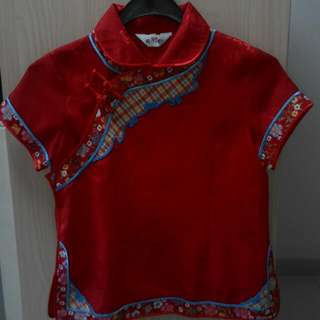 CNY Red Cheongsam Blouse for Girls (A)
