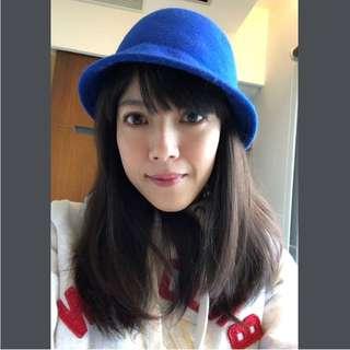 100% 寶藍色羊毛鐘形帽