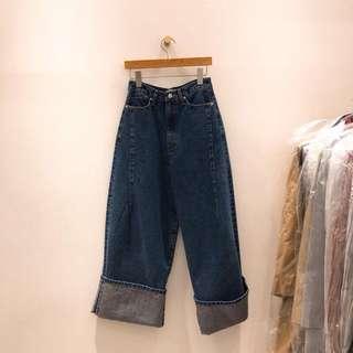 🚚 全新 轉賣 找到了 斷貨款 正韓 3D筒狀 牛仔 反折 寬褲
