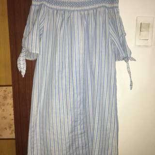 Blue Striped Off-Shoulder Dress