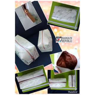 Marble Design Cosmetic Pouch Set of 2