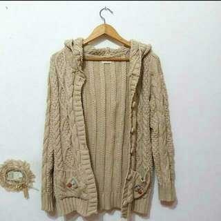 (全新)日本麻花針織厚外套
