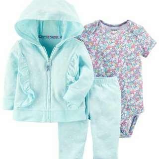 *24M Brand New Instock Carter's 3 Pc Little Jacket Set Girl Bodysuit Onesie Romper