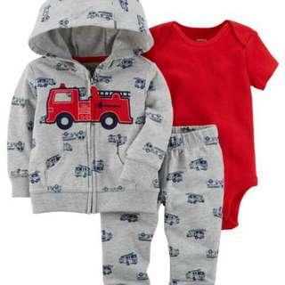 *24M Brand New Instock Carter's 3 Pc Little Jacket Set Boy Romper Pants Onesies Bodysuits