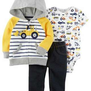 *24M Brand New Instock Carter's 3 Pc Little Jacket Set Boys Rompers Onesies Bodysuits Pants