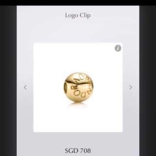 Authentic 14k Gold Pandora LOGO CLIP