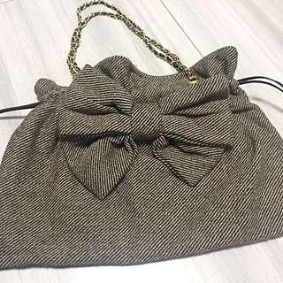 購自大阪-大蝴蝶結索繩單肩袋
