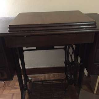Singer Antique Sewing Machine Console Side Table