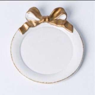 🚚 蝴蝶結 精緻飾品盤 甜點盤🖤 (白色)