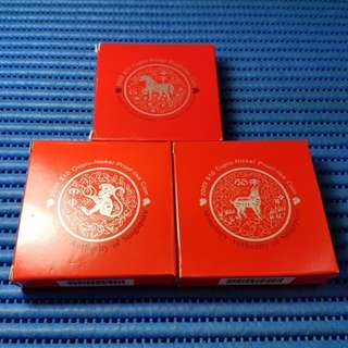 2004 - 2002 Singapore $10 Cupro-Nickel Proof Like Coin ( 2004 Monkey, 2003 Goat and 2002 Horse )