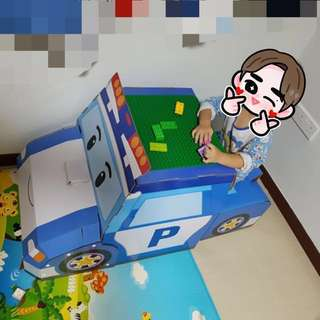 Famous Robot Car Poli table and desk - free original Lego play mat on the surface