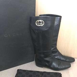 Gucci GG logo Calf skin leather black boots - Size US 10
