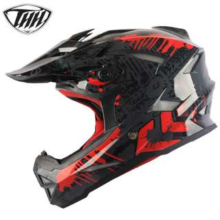★READY STOCK ★ THH T42 Helmet ★GOGGLES NOT INCLUDED ★ FULL FACE ★ MOTORCYCLE HELMET ★OFF ROAD ★ MOTOCROSS ★ NEW BLACK RED ★ E-SCOOTER ★ E-BIKE ★ NEW ARRIVALS ★ DIRT ROAD BIKE TREK ★ HURRY WHILE STOCK LASTS