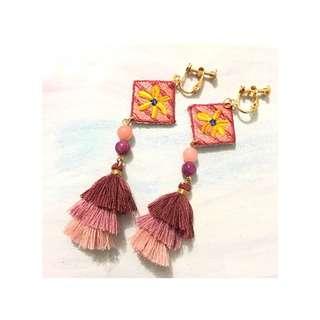 🇯🇵日本刺繡系列 🌸幾何花花流蘇耳環/耳夾