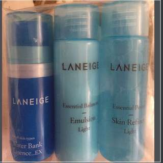 Laneige Skin Care Set Water Bank Essence_Ex (10ml); Essential balancing emulsion light (25ml); Essential power skin refiner lighter (25ml)