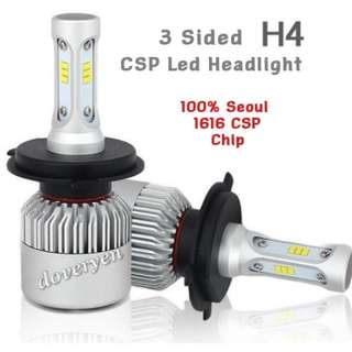 H4 HS1 Seoul CSP Led Headlight  ★Car Van Motorcycle   ★100% Genuine Seoul 1616     CSP Chip      3 Sided x 18 Leds  ★Constant Current      6063 Heatsink      Built-in Driver       Mini Size     Plug & Play  ★6.5k White      4000 lm/Bulb 36w  In Stock