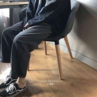 韓版寬鬆直筒西裝褲 寬褲
