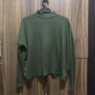 H&M Green Turtle Neck Top