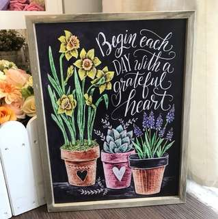Painting chalkboard wall plaque