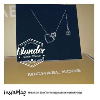 Michael Kors Silver Tone Interlocking Heart Pendant Necklace 心繫心吊墜項鍊最佳情人節禮物