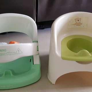 Baby potty with free anti slip baby bath chair