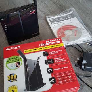 Buffalo Nfinity High Power  Wireless-N wifi Router, AP & Bridge WZR-HP-G300NH-AP