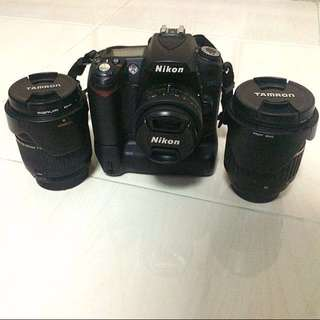 Nikon D90 with battery grip, 2 lenses and camera bag