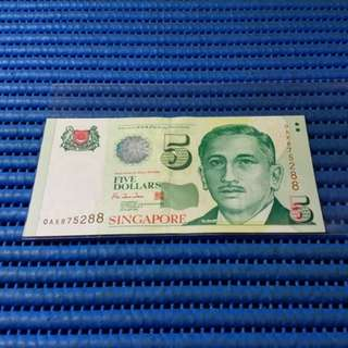 875288 Singapore Portrait Series $5 Note 0AX875288 Nice Prosperity Number Dollar Banknote Currency HTT ( 8 Head 8 Tail )