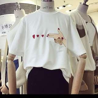 韓系短T刺繡夏天t恤愛心