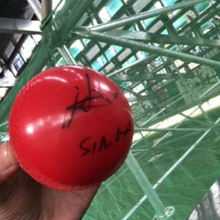 Legend cricketer kumar  sangakkara singed ball by himself