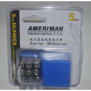 9pcs .Number Stamping punch 5mm