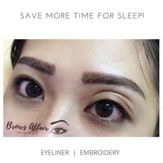 Eyebrows+ eyeliner embroidery