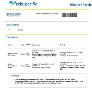 Cebu Pacific Roundtrip Ticket (MANILA-CORON-MANILA)