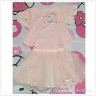 Pink Ribbon Top and Skirt (3-4yrs old)