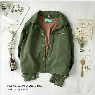 POCKET ZIPPY JACKET ARMY