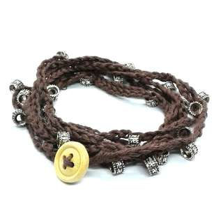 Handmade Cotton Yarn Boho Bohemian Brown Crochet Wrap Bracelet