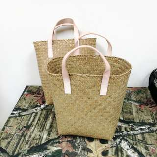 Basket with leather handle