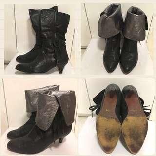 黑色真皮尖頭 寸半矮跟靴 有兩個款嫁💁🏻 Black real leather 2 way short boots