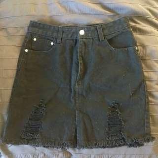 Cheep Black Denim Skirt