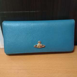 Vivienne Westwood Wallet 湖水綠 牛皮 長銀包
