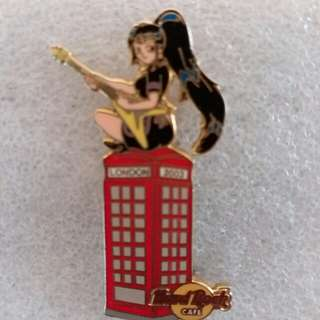 Hard Rock Cafe Pins ~ LONDON HOT 2003 TELEPHONE BOOTH GIRL WITH GUITAR!