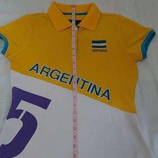 HOTKISS Polo Shirt Yellow/White Argentina
