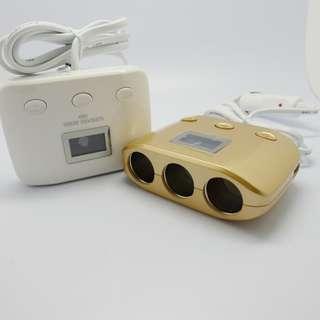 「自己有用才推薦」汽車充電器 點煙器 擴充 一分三 USB車充 3.1A 120W 電壓 溫度 顯示