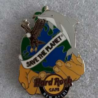 """Hard Rock Cafe Pins ~ NEW DELHI HOT 2015 """"SAVE THE PLANET"""" GLOBE, HANDS & ANIMALS!"""