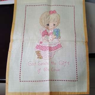 Completed criss stitch precious moments