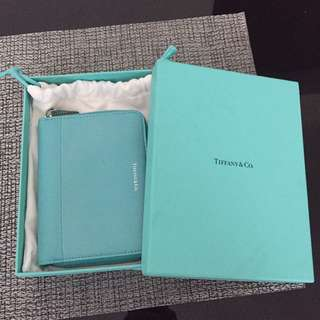 Tiffany & Co Textured Teal Leather Zip Wallet