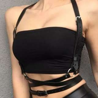 Faux vegan leather body harness
