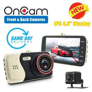 [SALES] Brand New and Quality Dual Camera Front & Back OnCam T810 Car DVR Camera (GOLD) Full HD 1080P Car Camcorder 4.0Inch 170 Degree G-Sensor Dash Cam With Night Vision and G-Sensor (One Year Warranty) AND FREE SAME DAY DOORSTEP DELIVERY @ 80SGD!