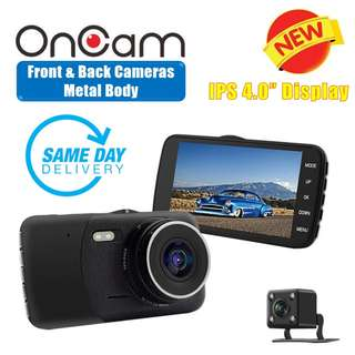 [SALES] Brand New and Quality Dual Camera Front & Back OnCam T600 Car DVR Camera Metal Body (BLACK) Full HD 1080P Car Camcorder 4.0Inch 170 Degree G-Sensor Dash Cam With Night Vision (One Year Warranty) AND FREE SAME DAY DOORSTEP DELIVERY @ 83SGD!