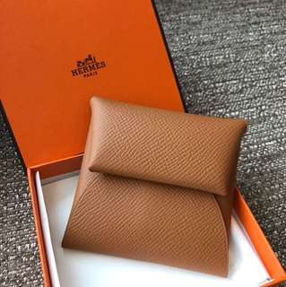 全新Hermes 散紙包 Bastia Leather Coins Wallet Purse Holder Gold Brown Epsom